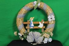 """Vintage 14"""" Straw Wreath With Flowers And Ribbon Antique Wall Door Decoration"""