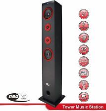 NEO MD20A RED/BLK WIRELESS BLUETOOTH FM TOWER SPEAKER STAND FOR PHONES & TABLETS