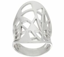 BRONZO ITALIA WHITE BRONZE CONCAVE OVAL GEOMETRIC CUT-OUT BAND RING SIZE 6 QVC