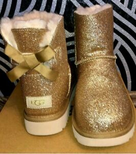 Ugg Mini Bailey Bow Gold  Lammfell  Gr 37 Boots Sneaker