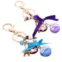 Novelty Decoration Alloy Cake Key Ring Bag Pendant Keychain Rhinestone