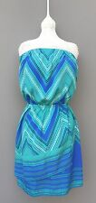Express Teal Blue Strapless Dress Party Casual Club Women Junior's Size XS Wrap