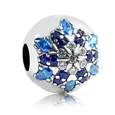 authentic 925 sterling silver Blue CZ Snowflake Flower Bead Charm fit bracelet
