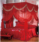 Red Princess Hight QC 4 Post Bed Curtain Canopy Mosquito Netting Queen King Size