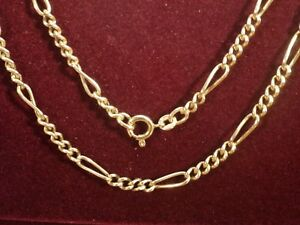 9k 9ct Solid Gold Figaro 3:1 Necklace. 3.5mm, 52cm 6.58g