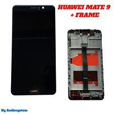 GLS DISPLAY  + TOUCH SCREEN+FRAME COVER per HUAWEI MATE 9 NERO MHA-L09 L29 VETRO