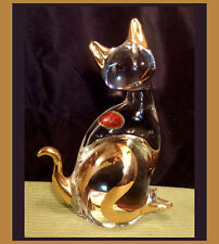 "Murano Solid Crystal Cat Figurine ~ 6.75"" Tall ~Clear Glass + Gold Details Italy"
