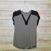 Anthropologie Ella Moss Top Womens Size XS Black White Striped Short Sleeve
