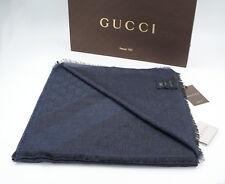 Original GUCCI Schal Tuch, XL 140x140 Wolle, Seide, Gucci Logo Print Unisex NEU