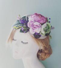 Purple Green & Lilac Rustic Rose Lavender Floral Grey PillBox Hat Fascinator