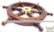 "12"" Ships Wheel Wood Brass Nautical Maritime Decor Pirate Captain Boat yacht"
