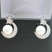 Vintage Antique White Akoya Pearl Earrings Sterling Silver 14K White Gold Filled