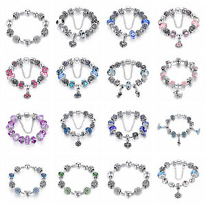 European 925 Silver Plated Alloy Clasp Bracelet with Charms Beads For Women Girl