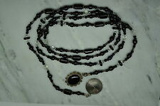 """925 STERLING SILVER 64.5"""" BLACK BEADS ONYX CONCHO SWIRLY ENDS NECKLACE #X-11762"""