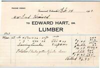 1929 TOWNSEND DELAWARE*EDWARD HART LUMBER*FRED HEINROLD(?)*VINTAGE BILLHEAD