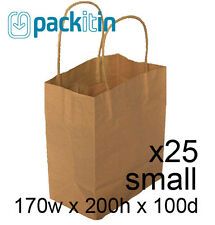 x25 KRAFT BROWN paper gift CARRY party BAGS with handles - SMALL (170 x 200mm)