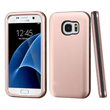 For SAMSUNG Galaxy S7 ROSE GOLD BLACK VERGE SKIN Cover CASE + GLASS SCREEN