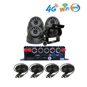 4CH GPS 4G WIFI 1080P AHD 256GB SD Car DVR Video Record Remote View CCTV Camera