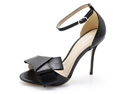 Bronx Soft Nappa Leather Bow Court Shoe with Ankle Strap Black 8