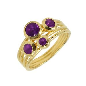Solid 925 Sterling Silver Jewelry Round Faceted Amethyst Ring Size 8 US SR6289