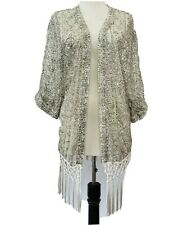Hollister Open Front Cardigan Fringe white grey Women's size XS / S