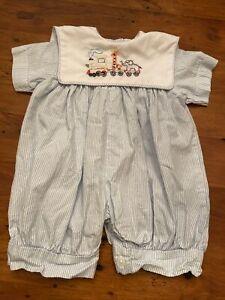 La Jenns Baby Boy 6 months bubble romper collar train hand stitched blue