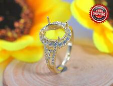 7x9mm Oval Solid 14K 585 Yellow Gold Semi Mount Diamond Wedding Ring