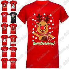 Ladies Santa Reindeer Merry Christmas Short Sleeve Xmas Novelty T-Shirt Top