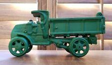 "Vintage Cast Iron Green Trucks Dump Truck 8"""