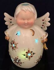 New Christmas Porcelain Angel With Gold & Jewel Accents Tea Light Holder