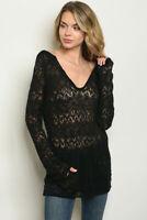 NEW Black Semi-Sheer Hooded Summer Tunic Sweater pick S M L