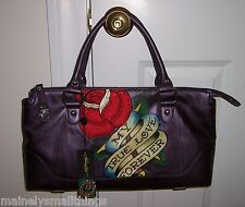 NWT Ed Hardy Belle Fleurs LUCY Sm Tote Bag MY TRUE LOVE FOREVER Purple 1VP176BE