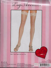 LEG AVENUE - Sheer Lace Top Thigh High Stockings/Hold Ups 1011- One Size -RED