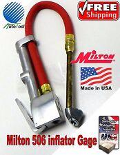 "Milton S506 Dual Head Inflator Gauge 15"" Air Hose 506 Gage tire changer 120 psi"