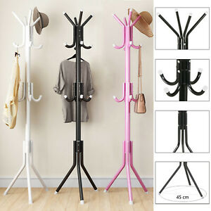 175cm Coat Stand Garment Rack Metal 12 Hooks Clothes Rail Hat Umbrella Hanger UK