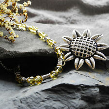 Joli Collier Tournesol du Style Tibétain en Verre Coloré