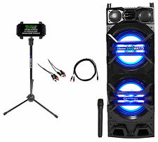 "Technical Pro Dual 10"" Powered 1500w Bluetooth Karaoke Speaker w/USB/SD/LED+Mic"