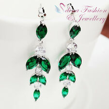 18K White Gold Plated Made With Swarovski Element Emerald Chandelier Earrings