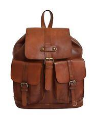 Genuine Vintage Rust Leather Backpack Large Organiser Classic Casual Rucksack