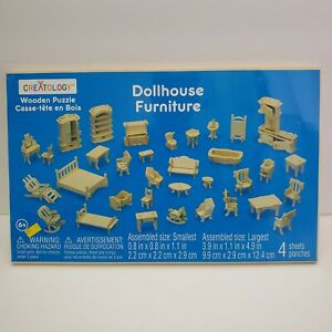 34 Pc. Creatology Wooden Dollhouse 3D Furniture Kit 4 Puzzle Assembly Sheets