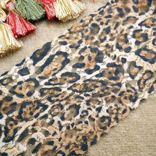 """15 Yards Embroidered Leopard Print Floral Stretch Lace 5 1/2"""" Wide"""