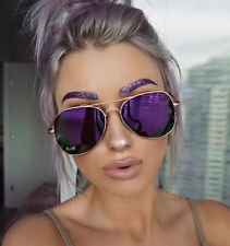 "Oversized ""VIOLET"" Large Purple Pink Green Gold Mirror Aviator Big Sunglasses L"