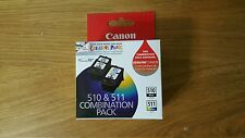 2x Canon Genuine ink Cartridges 1x PG510 PG-510 1x CL511 MP240MP480 MX320 MP250