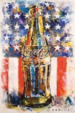 """Coca Cola art poster 24 x 36"""" Soda Pop Bottle with American Flag USA"""