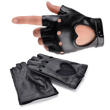 Women Punk Leather Driving Biker Fingerless Mittens Dance Motorcycle Gloves  O