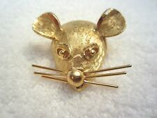 RARE  Mouse Rat Head PIN BROOCH Whiskers Move Gold Tone SIGNED B.S.K. --Superb!