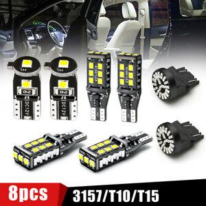 8X Car LED Package Kit For License Plate Lamp Reverse Backup Brake Light Bulbs