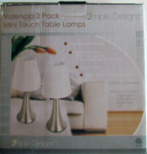 Valencia 2 Pack Simple Designs Mini Touch Lamps Lt2042 White