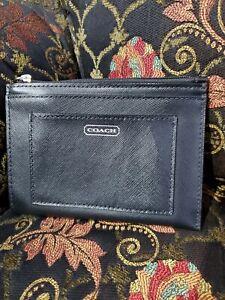 Coach Saffiano Leather Mini Skinny ID Card Case Key Ring NWOT