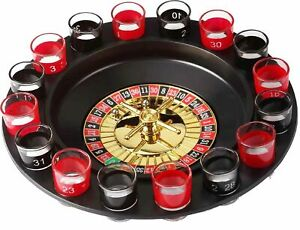 Casino Party Glasses Game Spin & Shot Roulette Wheel Drinking Set for Adults 18+